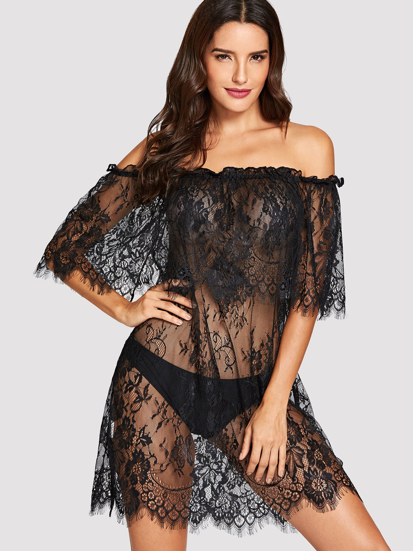 Off The Shoulder Floral Lace Dress With Thong, Juliana, Romwe, Black  - buy with discount