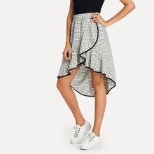 SHEIN   Contrast Binding Asymmetrical Ruffle Hem Plaid Skirt   Goxip