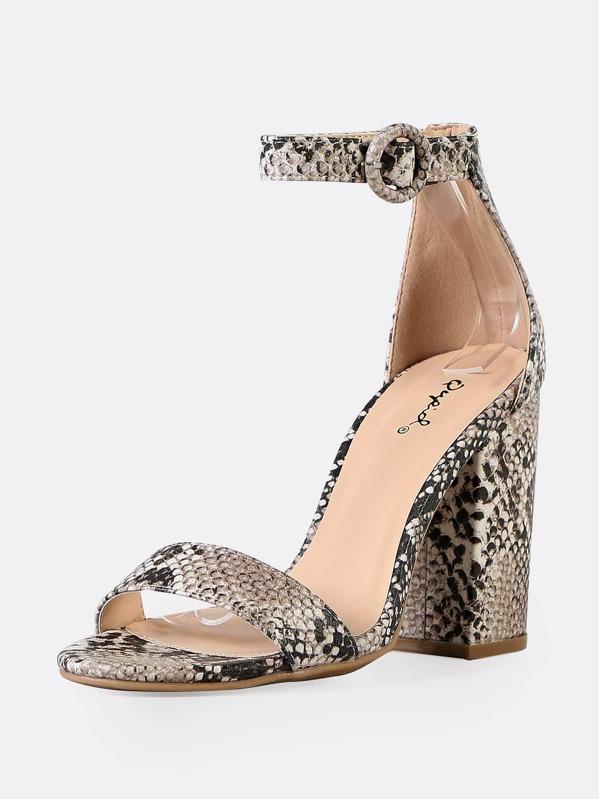 b36b4bb5d7d Faux Snake Skin Chunky Heel