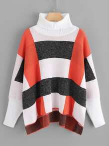 Turtleneck Drop Shoulder Cut and Sew Sweater