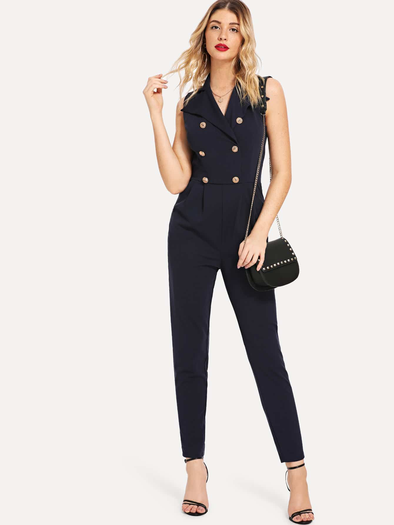 SHEINDouble Button Pleated Jumpsuit