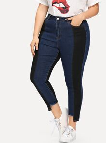 Plus Two Tone Stepped Hem Jeans