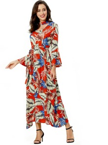 Leaf Print Tie Waist Bell Sleeve Dress