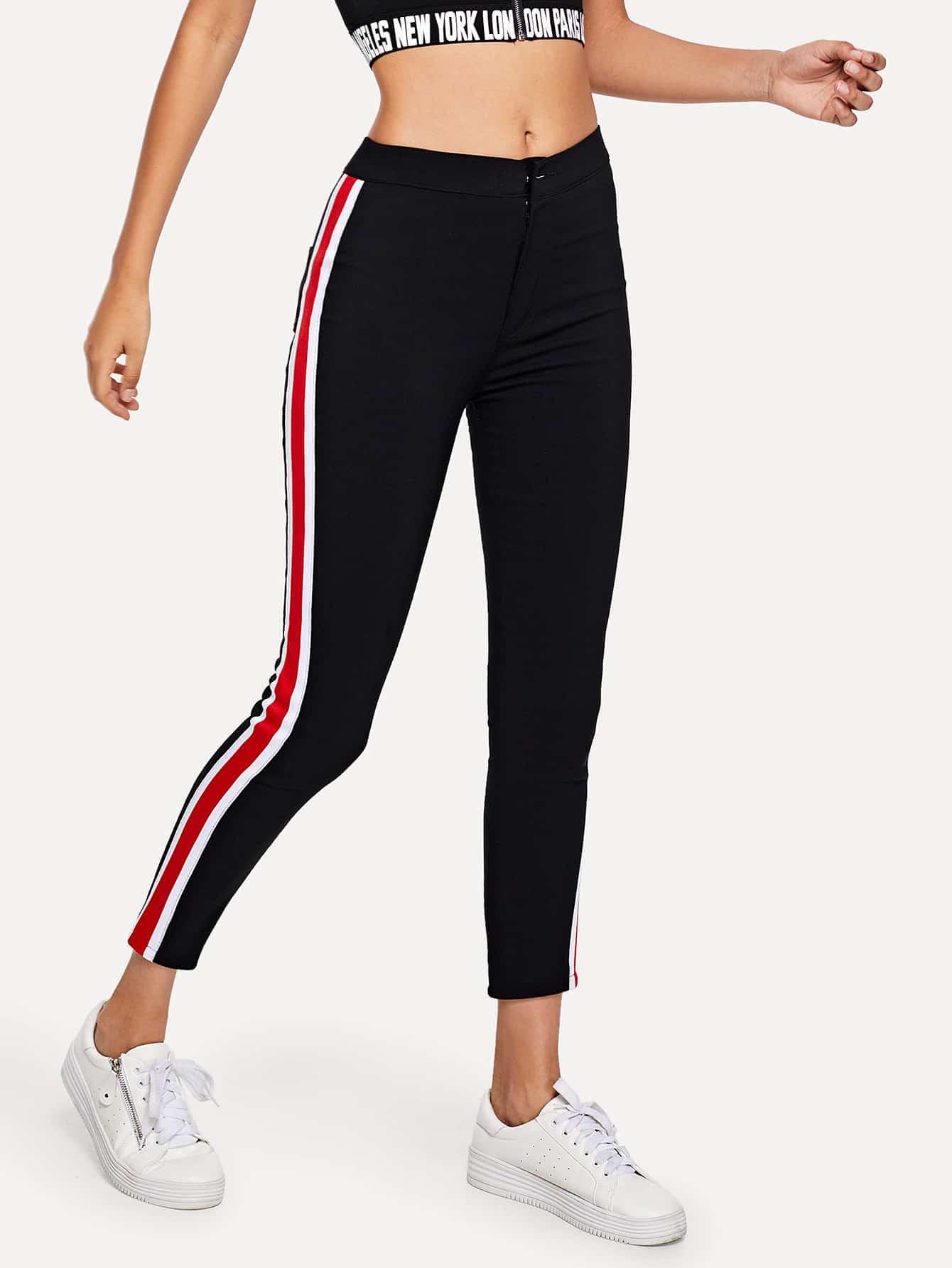 Stripe Tape Side Jeans Romwe