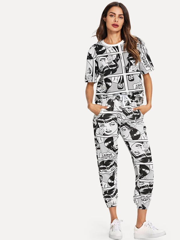 08542dc40c Comic Print Tee & Drawstring Waist Pants | SHEIN UK