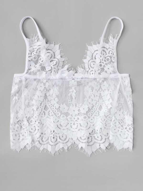 2bd7d0281a1 Plus Eyelash Floral Lace Longline Bralette | SHEIN
