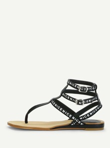 Slogan Strap Caged Sandals