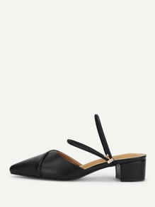 Convertible Strap Low Heeled Mules