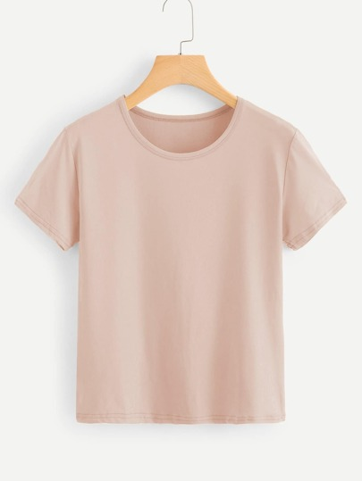 Solid Round Neck Basic Tee