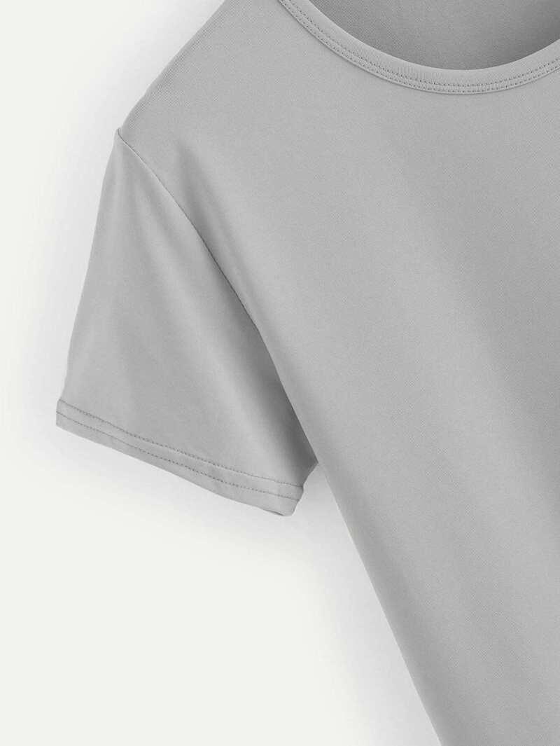 31f79e8ecefc0 Tee-shirt basique à col rond unicolore