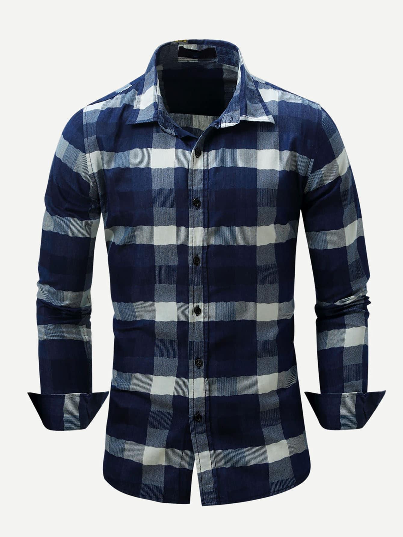 Men Plaid Denim Shirt Men Plaid Denim Shirt