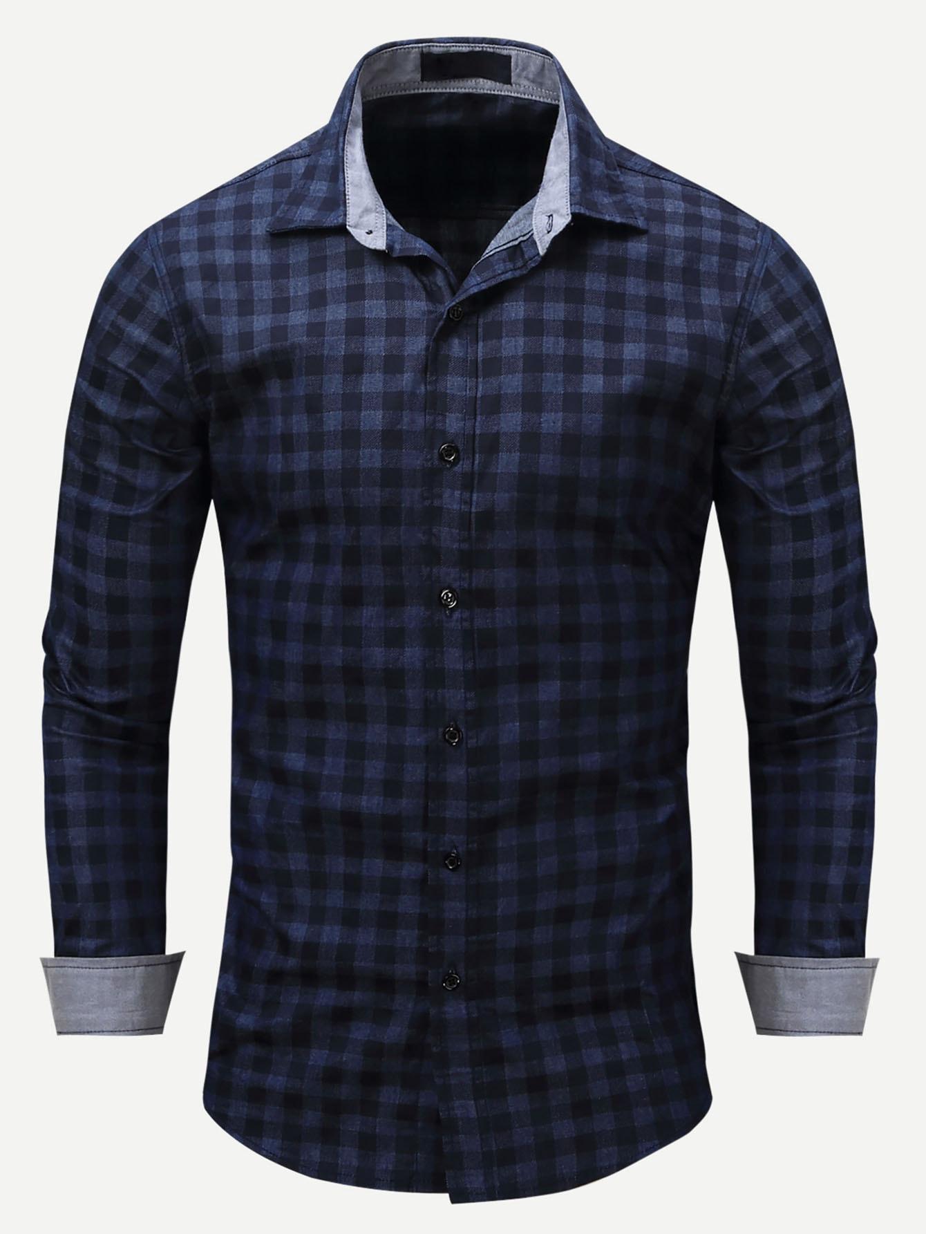 Men Plaid Collar Denim Shirt Men Plaid Collar Denim Shirt