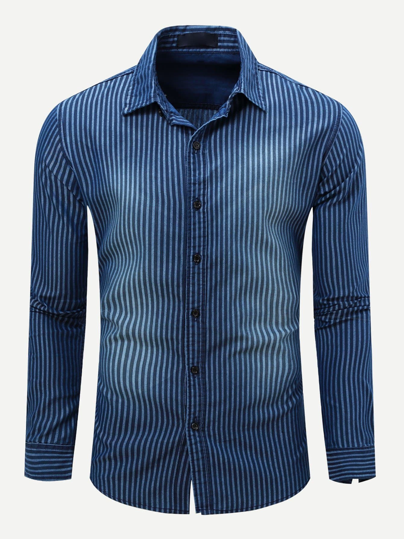Men Striped Collar Denim Shirt Men Striped Collar Denim Shirt