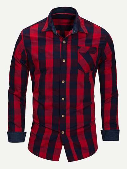 Guys Gingham Collar Shirt