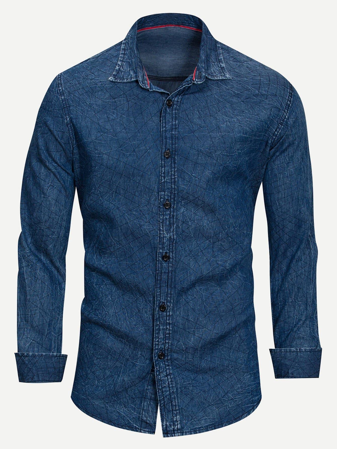 Men Solid Collar Denim Shirt Men Solid Collar Denim Shirt