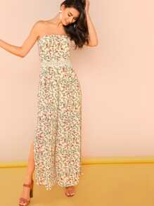 Slit Wide Leg Botanical Strapless Textured Jumpsuit