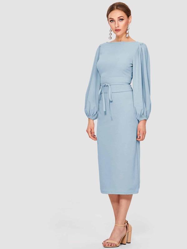 0e2bc5ed862 Lantern Sleeve Self Tie Waist Solid Dress