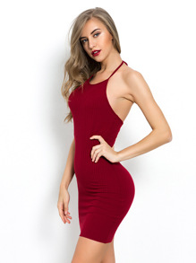 Ribbed Halter Mini Cami Dress