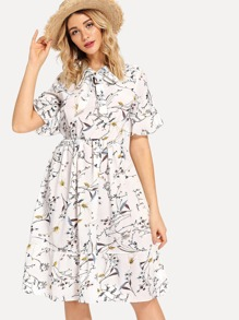 Floral Print Tie Neck Dress