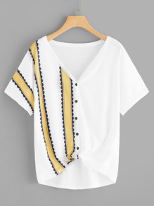 Contrast Striped Button Through Tee