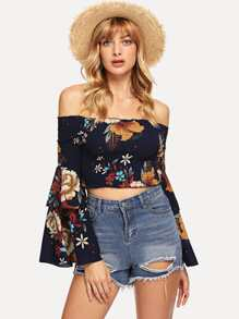 Layered Flounce Sleeve Shirred Panel Bardot Crop Top