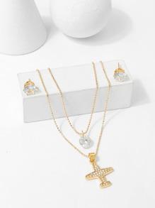 Aircraft Pendant Layered Necklace & Earrings Set