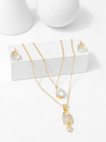 Lock Pendant Layered Necklace & Earrings Set
