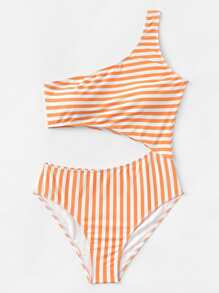 One Shoulder Cut-Out Striped Swimsuit