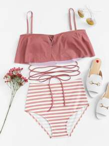 Flounce Tie Back Top With Striped High Waist Bikini