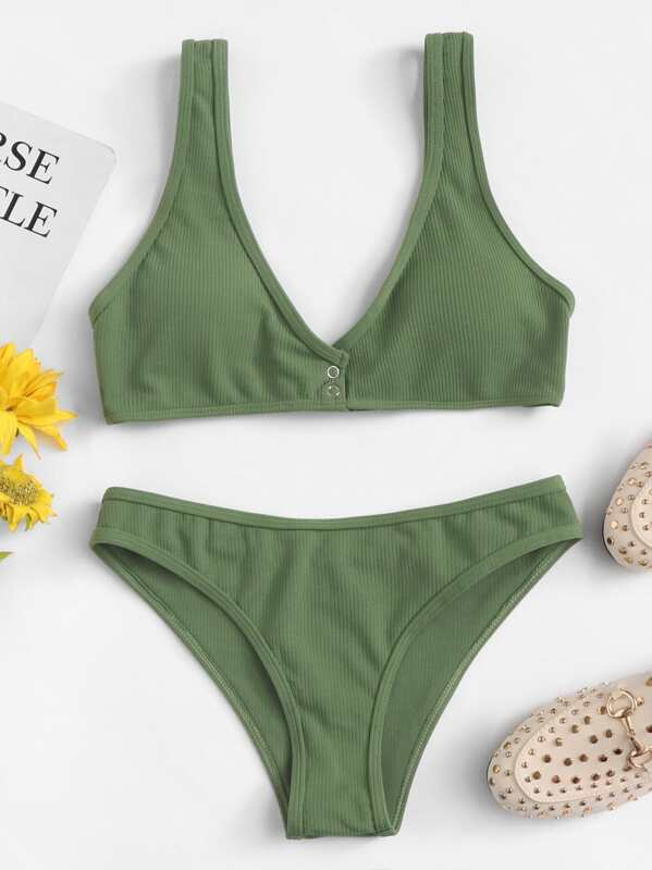 b9e3a0888bbb Button Plain Bikini Set | SHEIN