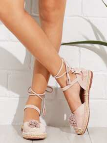 Lace Up Espadrille Flats