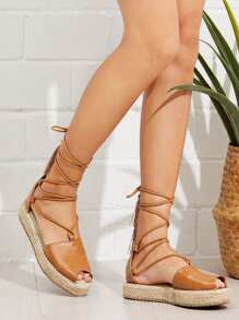 Lace Up Espadrille Sandals