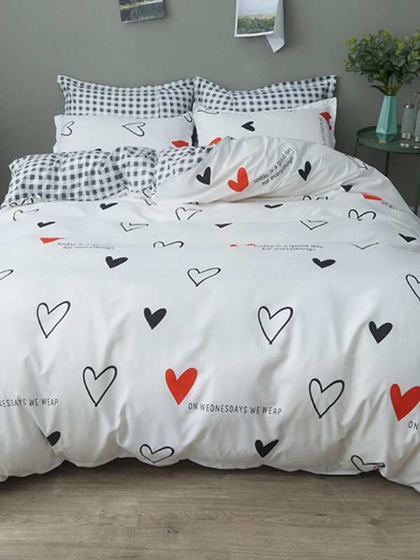 a959753939 Heart & Letter Print Sheet Set | SHEIN