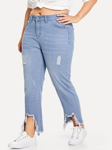 Plus Distressed Straight Jeans