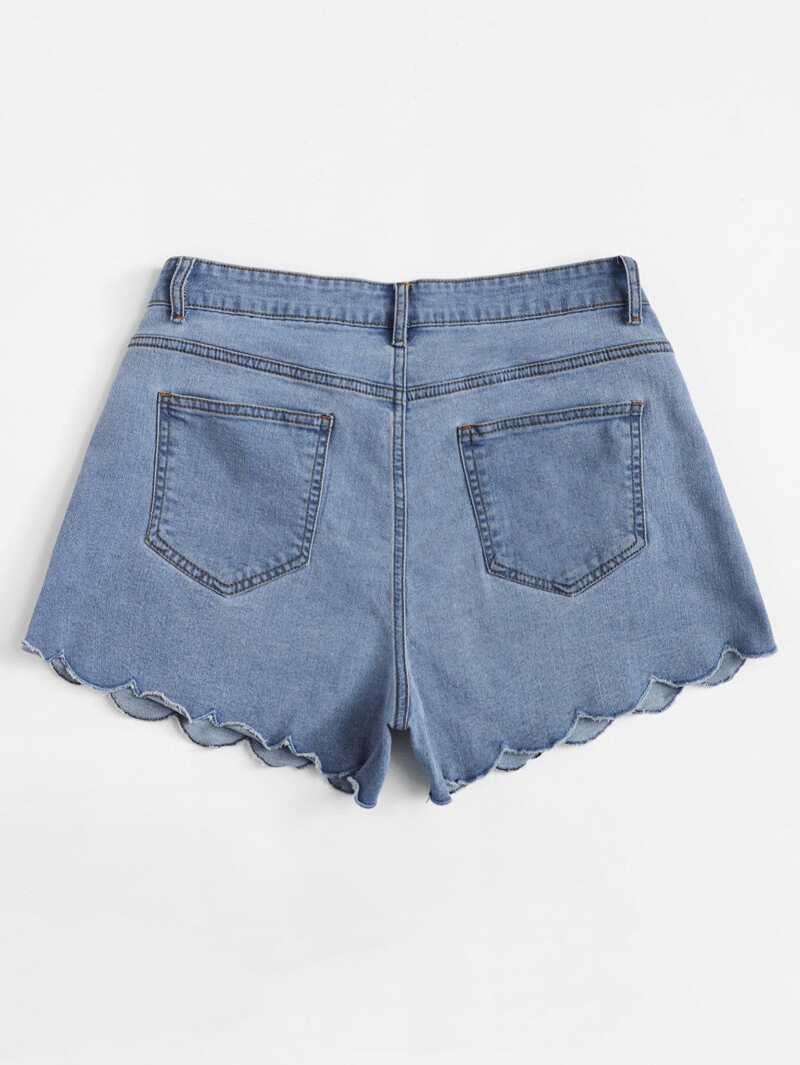 53e4d62203 Grande taille Short en jean à bord festonné | ROMWE