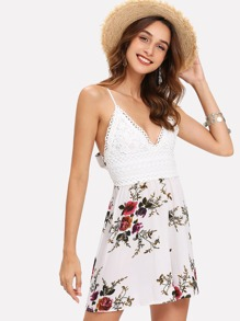 Knot Back Floral Print Cami Dress