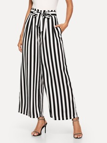 Striped Belted Pants