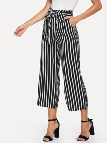 Knot Front Striped Wide Leg Pants