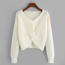 Ribbed Twist Hem Jumper
