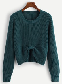 Bow Hem Ribbed Jumper