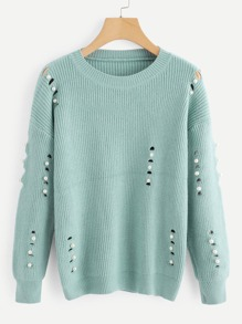 Pearls Cut Out Jumper