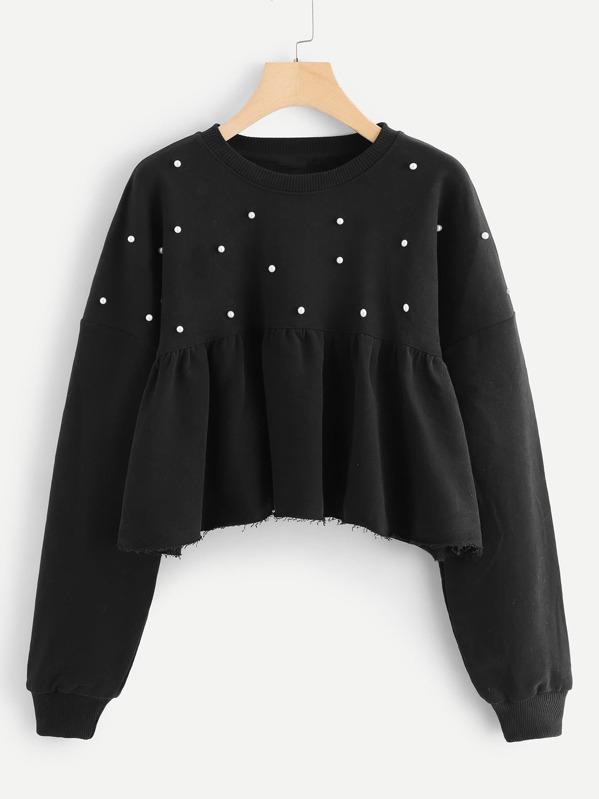 Pearls Ruffle Hem Sweatshirt by Sheinside