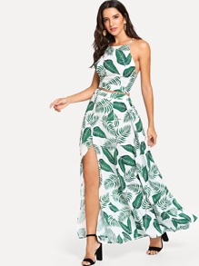 Criss Cross Back Tropical Print Top With Skirt