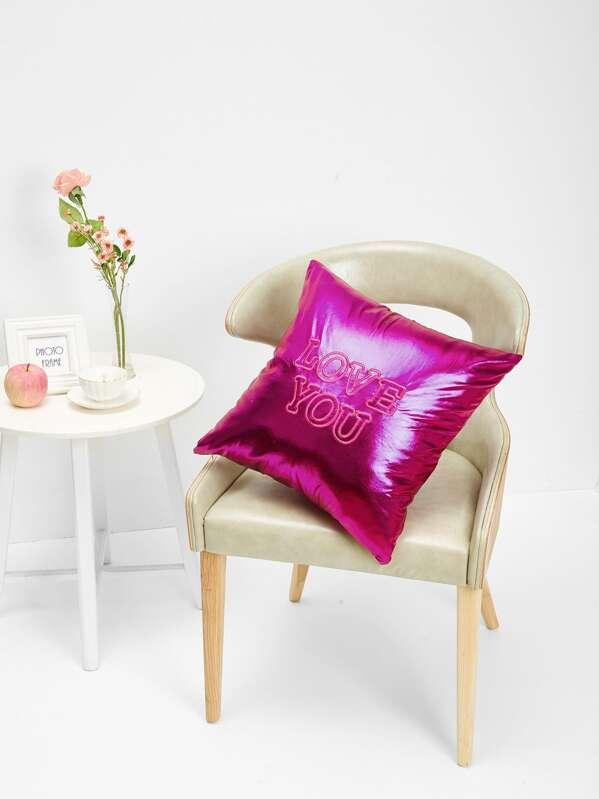 Neon Pink Slogan Embroidery Metallic Pillowcase   SHEIN