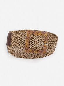 Square Buckle Straw Belt
