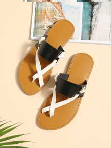 Two Tone Flat Sandals