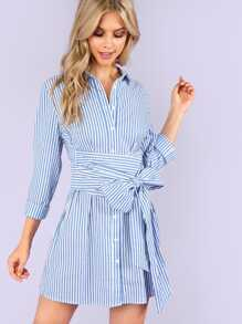 Button Front Belted Collar Striped Dress