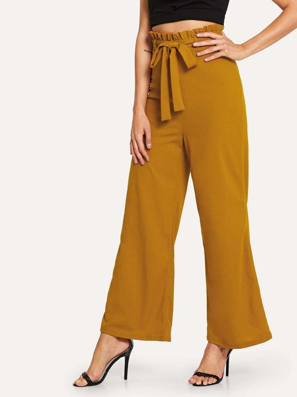 c1f5ef1982 Pantalones anchos de cintura fruncido con cinturón