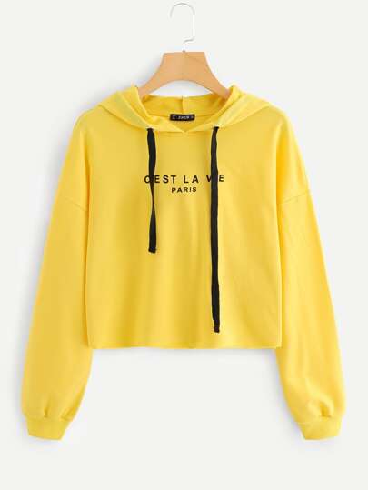 Letter Graphic Drop Shoulder Raw Hem Crop Hoodie