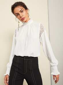 Sheer Lace Insert Flowy Top